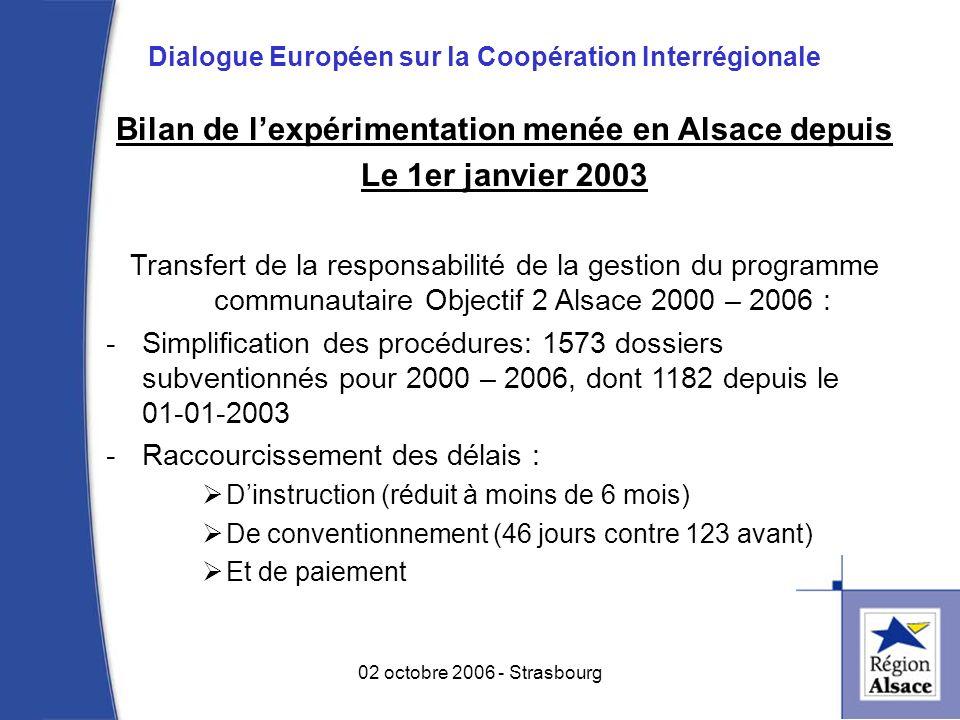 Bilan de lexpérimentation menée en Alsace depuis Le 1er janvier 2003 Transfert de la responsabilité de la gestion du programme communautaire Objectif