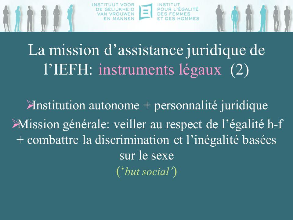 La mission dassistance juridique de lIEFH: instruments légaux (2) Institution autonome + personnalité juridique Mission générale: veiller au respect d