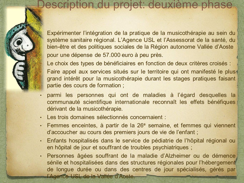 Description du projet: deuxième phase Expérimenter lintégration de la pratique de la musicothérapie au sein du système sanitaire régional.