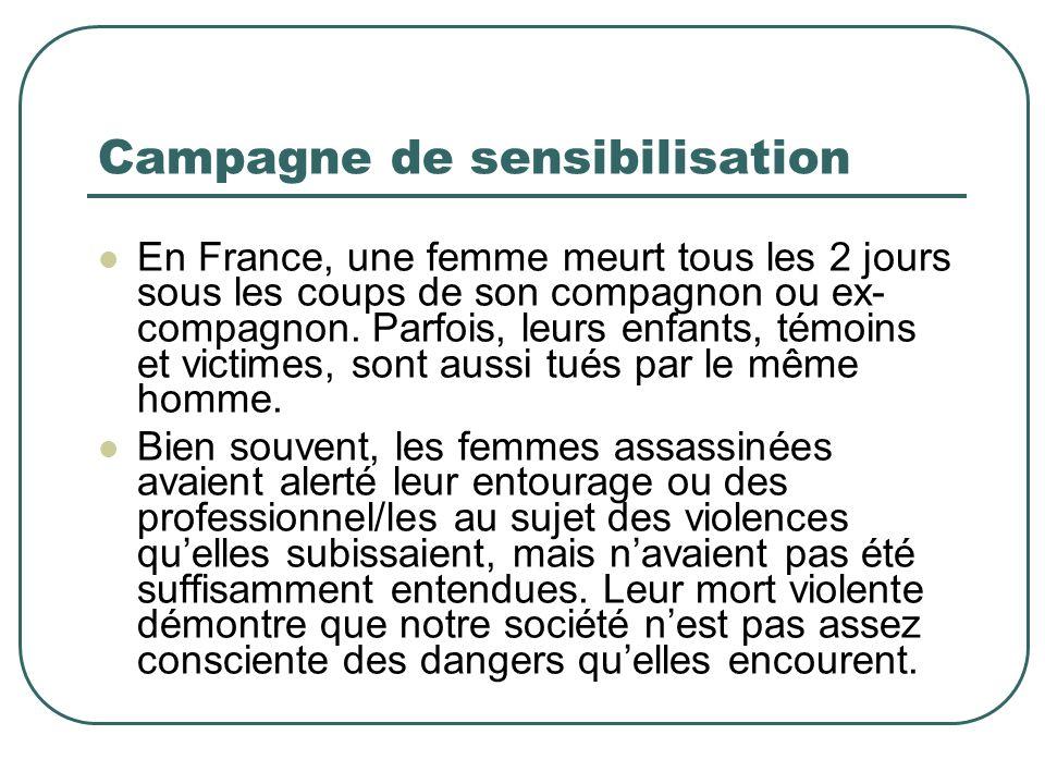Campagne de sensibilisation En France, une femme meurt tous les 2 jours sous les coups de son compagnon ou ex- compagnon.