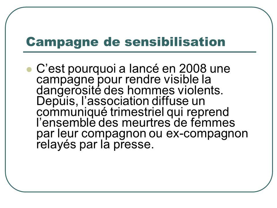 Campagne de sensibilisation Cest pourquoi a lancé en 2008 une campagne pour rendre visible la dangerosité des hommes violents.