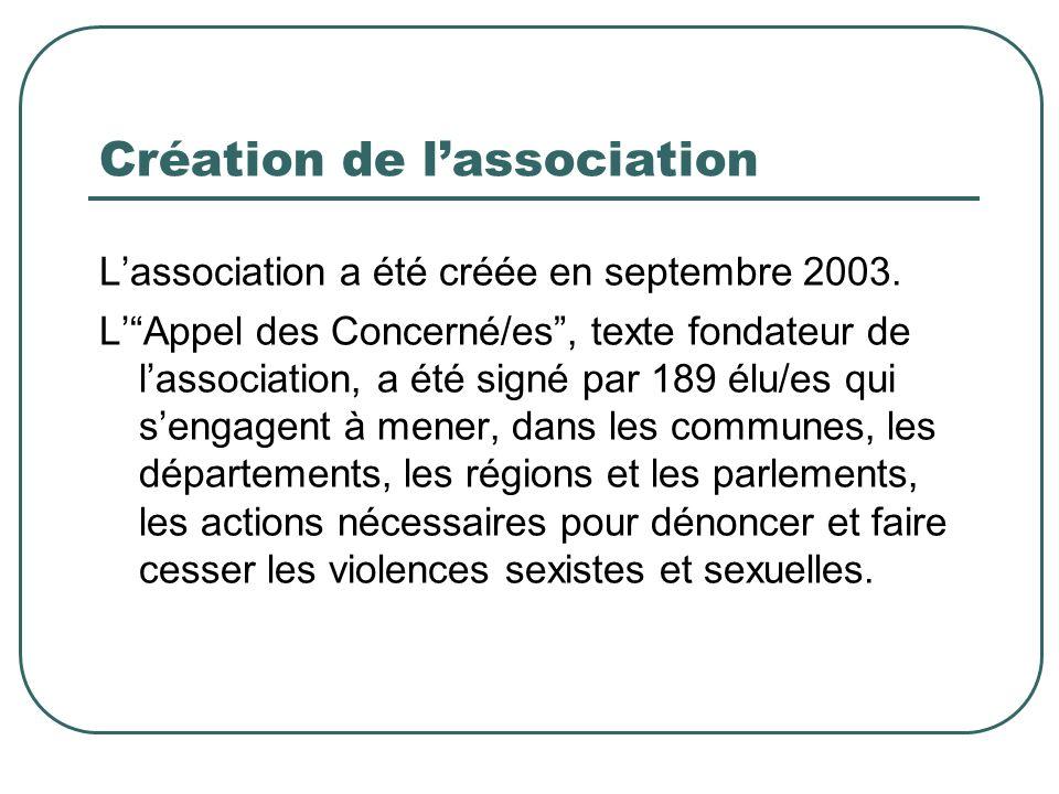 Création de lassociation Lassociation a été créée en septembre 2003.