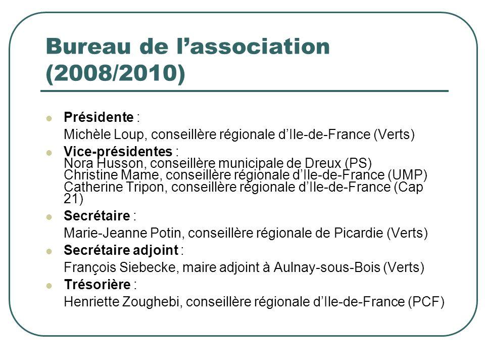 Bureau de lassociation (2008/2010) Présidente : Michèle Loup, conseillère régionale dIle-de-France (Verts) Vice-présidentes : Nora Husson, conseillère municipale de Dreux (PS) Christine Mame, conseillère régionale dIle-de-France (UMP) Catherine Tripon, conseillère régionale dIle-de-France (Cap 21) Secrétaire : Marie-Jeanne Potin, conseillère régionale de Picardie (Verts) Secrétaire adjoint : François Siebecke, maire adjoint à Aulnay-sous-Bois (Verts) Trésorière : Henriette Zoughebi, conseillère régionale dIle-de-France (PCF)