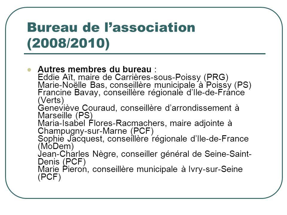 Bureau de lassociation (2008/2010) Présidentes dhonneur : Geneviève Fraisse, ancienne députée européenne Nicole Frydman, conseillère municipale à Saint-Germain-en-Laye (Verts)