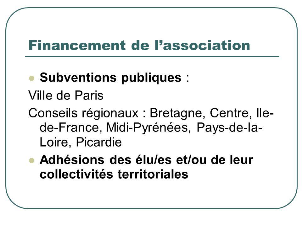 Financement de lassociation Subventions publiques : Ville de Paris Conseils régionaux : Bretagne, Centre, Ile- de-France, Midi-Pyrénées, Pays-de-la- Loire, Picardie Adhésions des élu/es et/ou de leur collectivités territoriales