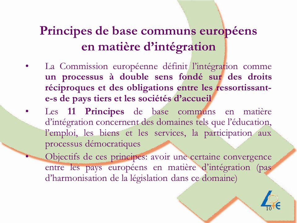 10 Principes de base communs européens en matière dintégration La Commission européenne définit lintégration comme un processus à double sens fondé su