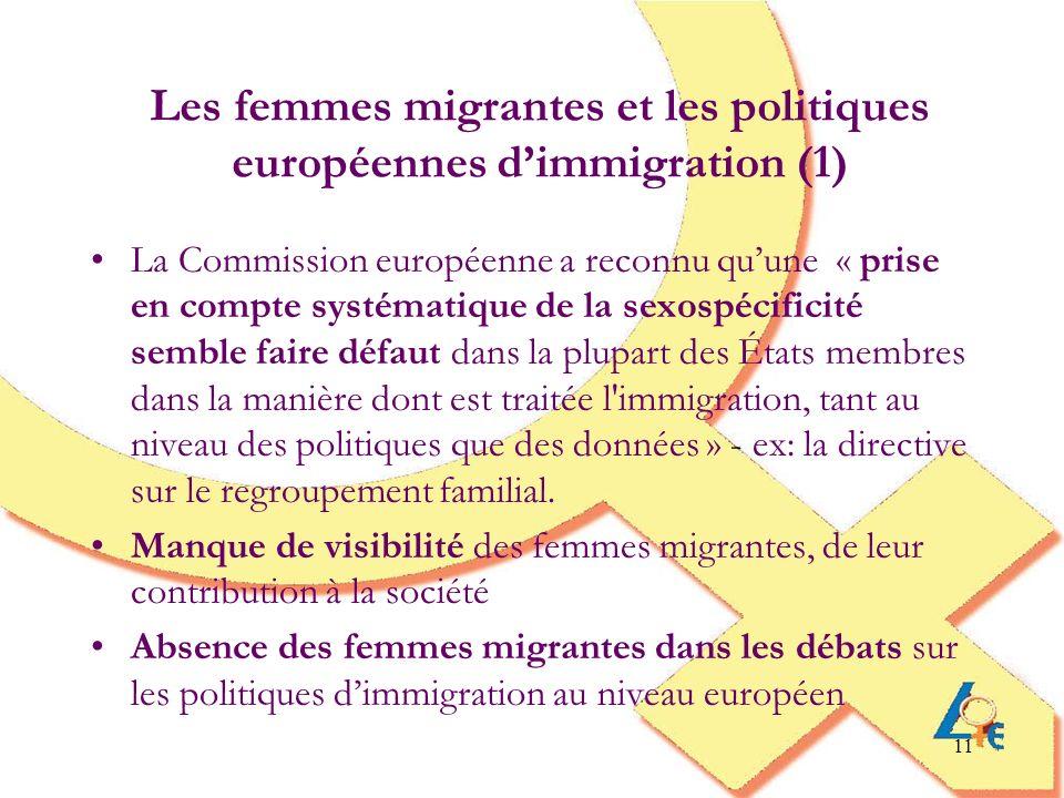 11 Les femmes migrantes et les politiques européennes dimmigration (1) La Commission européenne a reconnu quune « prise en compte systématique de la s