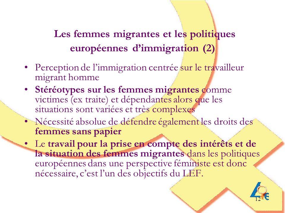 12 Les femmes migrantes et les politiques européennes dimmigration (2) Perception de limmigration centrée sur le travailleur migrant homme Stéréotypes