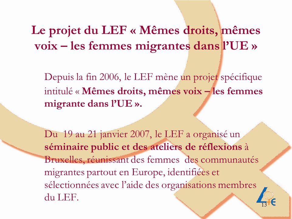 13 Le projet du LEF « Mêmes droits, mêmes voix – les femmes migrantes dans lUE » Depuis la fin 2006, le LEF mène un projet spécifique intitulé « Mêmes