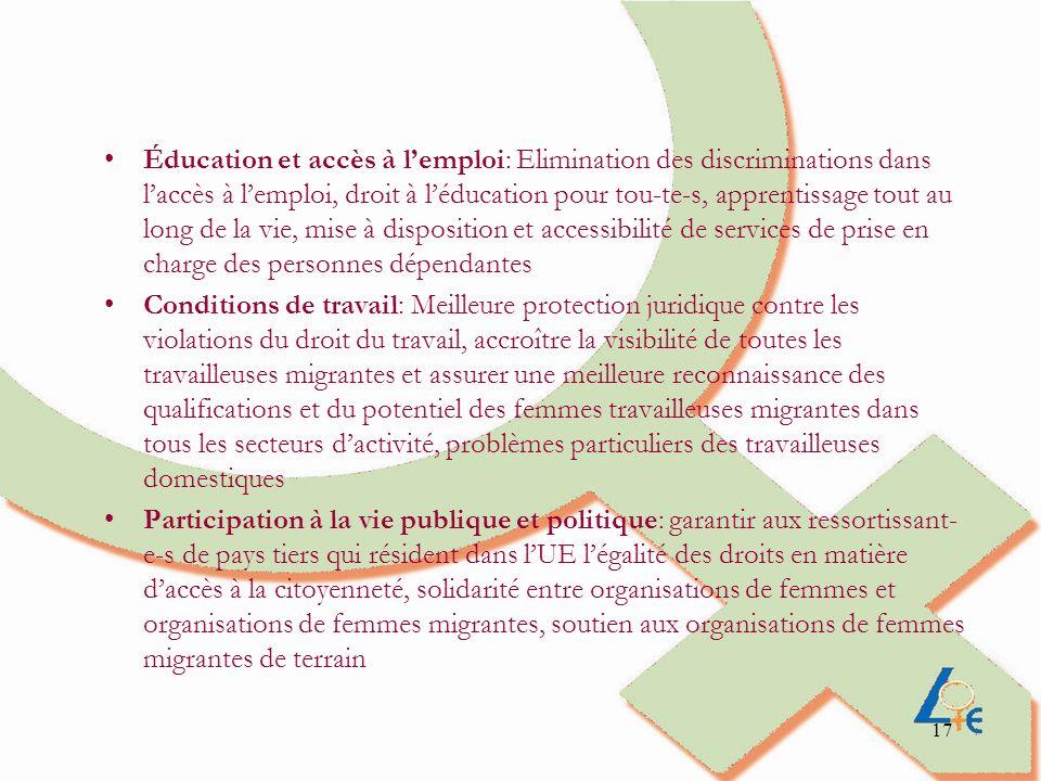 17 Éducation et accès à lemploi: Elimination des discriminations dans laccès à lemploi, droit à léducation pour tou-te-s, apprentissage tout au long d