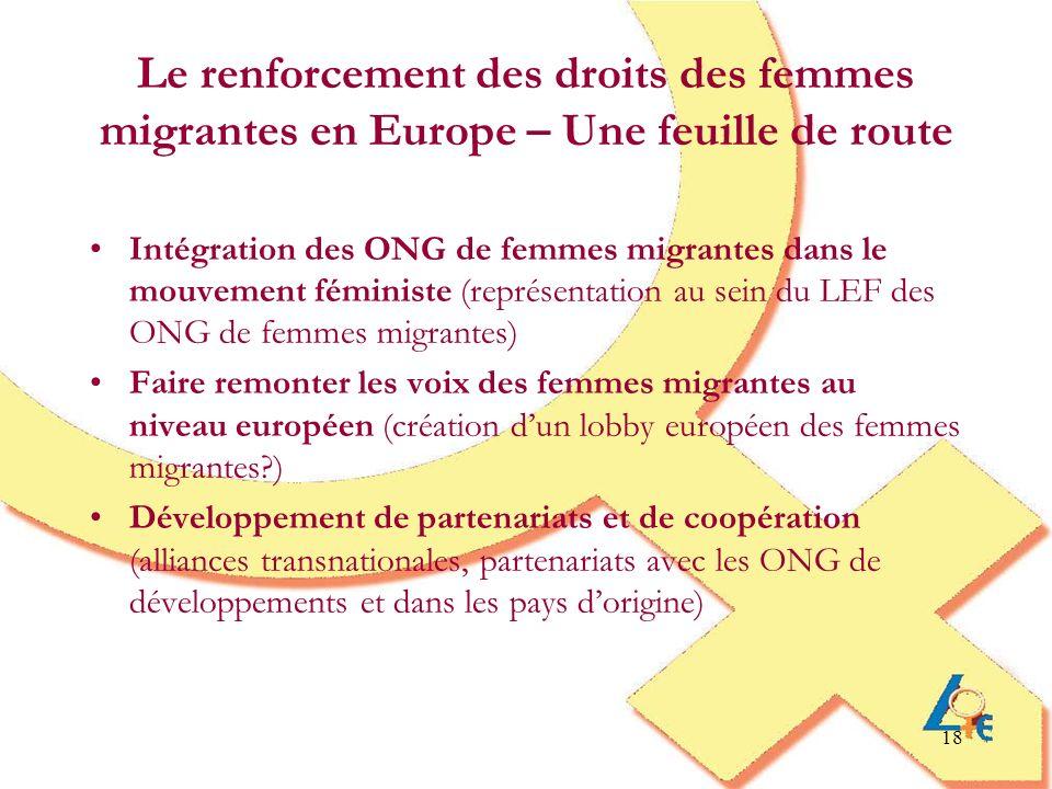 18 Le renforcement des droits des femmes migrantes en Europe – Une feuille de route Intégration des ONG de femmes migrantes dans le mouvement féminist