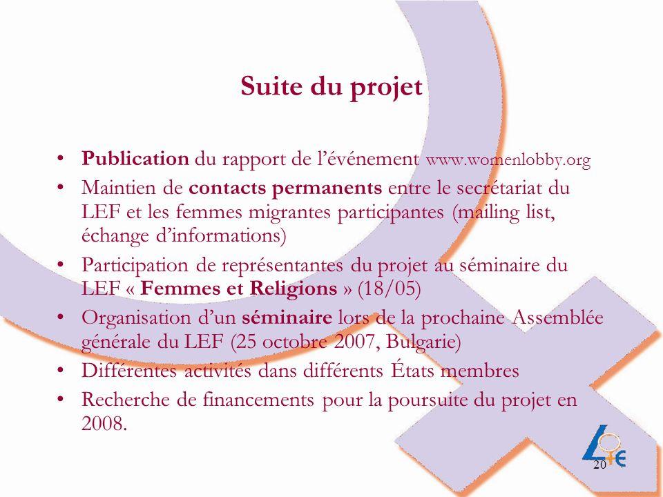 20 Suite du projet Publication du rapport de lévénement www.womenlobby.org Maintien de contacts permanents entre le secrétariat du LEF et les femmes m
