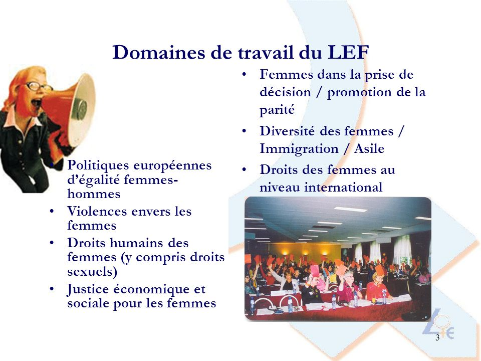 14 Le projet du LEF « Mêmes droits, mêmes voix – les femmes migrantes dans lUE » Objectifs: 1.Réunir des femmes migrantes venant de tous les pays de lUE et des futurs pays membres pour une discussion sur les principaux défis quelles rencontrent en termes dintégration et de participation dans leurs pays daccueil 2.Discuter des possibilités de développement et de renforcement du travail en réseau entre les femmes migrantes au niveau européen en particulier; 3.Renforcer les relations entre ONG de femmes migrantes et coordinations nationales du LEF, et assurer une meilleure visibilité et représentativité des femmes migrantes dans les structures du LEF.