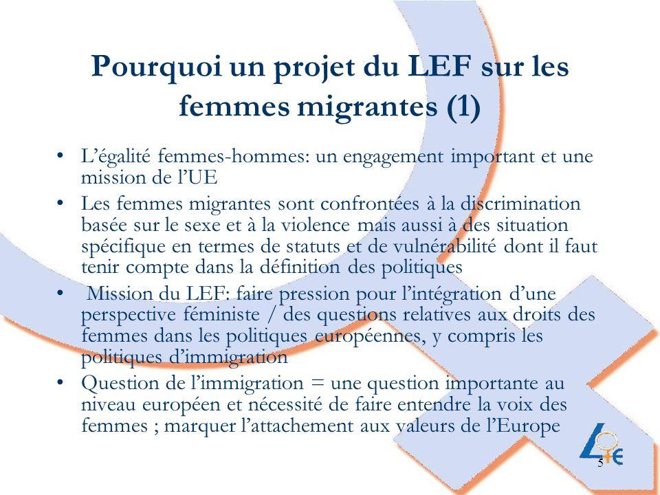 6 Pourquoi un projet du LEF sur les femmes migrantes (2) Les politiques européennes en matière dimmigration ne prennent pas assez compte de laspect genre et les besoins des femmes Les politiques européennes dimmigration sont centrées sur une optique de sécurité et de contrôle des frontières et pas assez sur les questions de droits fondamentaux Près de la moitié de la population migrante au sein de lUE est composée de femmes, le nombre de femmes migrantes augmente et leur rôle change avec des situations très différentes Importance pour le LEF de travailler sur question sur différents niveaux, avec des expertes de terrain au niveau national et local et un travail politique au niveau européen, création de liens, de synergies et de modes de coopération entre les différents niveaux