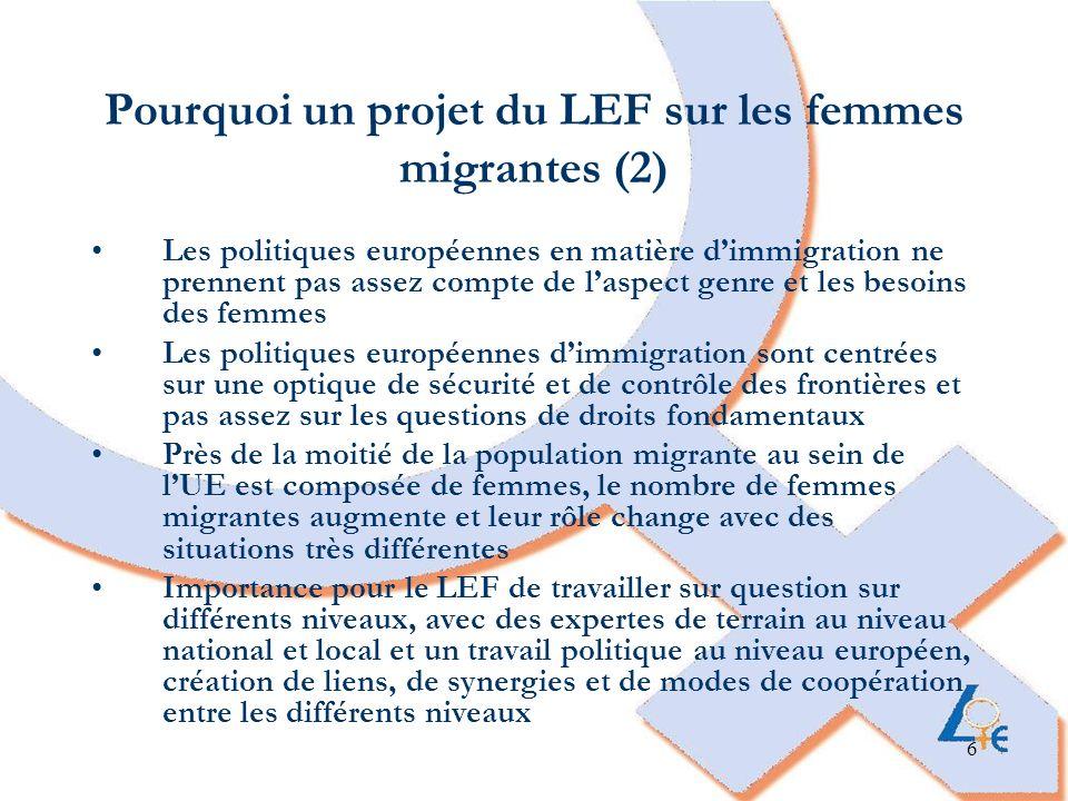 6 Pourquoi un projet du LEF sur les femmes migrantes (2) Les politiques européennes en matière dimmigration ne prennent pas assez compte de laspect ge