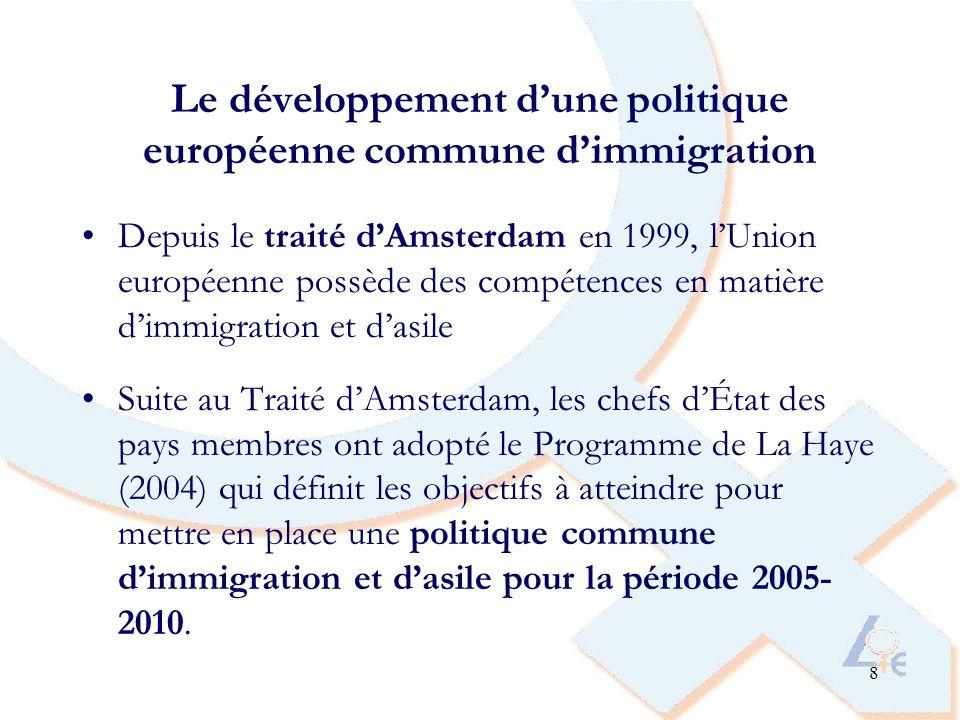 9 Politique européenne commune dimmigration, dintégration et de lutte contre les discriminations Définir une politique dimmigration commune pour gérer les flux migratoires: conditions dentrée et de séjour des ressortissant-e-s des pays tiers, garantie des droits, procédures de « retour » Appui aux actions des États membres dans le domaine de lintégration Directives européennes de 2000 pour lutter contre les discriminations, y compris celles basées sur la race et lorigine ethnique.