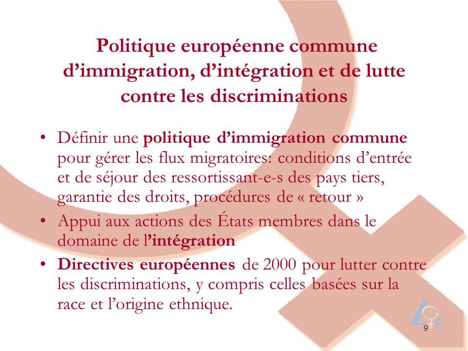 9 Politique européenne commune dimmigration, dintégration et de lutte contre les discriminations Définir une politique dimmigration commune pour gérer