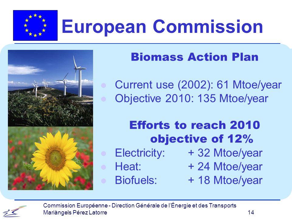 Commission Européenne - Direction Générale de lÉnergie et des Transports Mariàngels Pérez Latorre 14 European Commission Biomass Action Plan l Current use (2002): 61 Mtoe/year l Objective 2010: 135 Mtoe/year Efforts to reach 2010 objective of 12% l Electricity: + 32 Mtoe/year l Heat: + 24 Mtoe/year l Biofuels: + 18 Mtoe/year