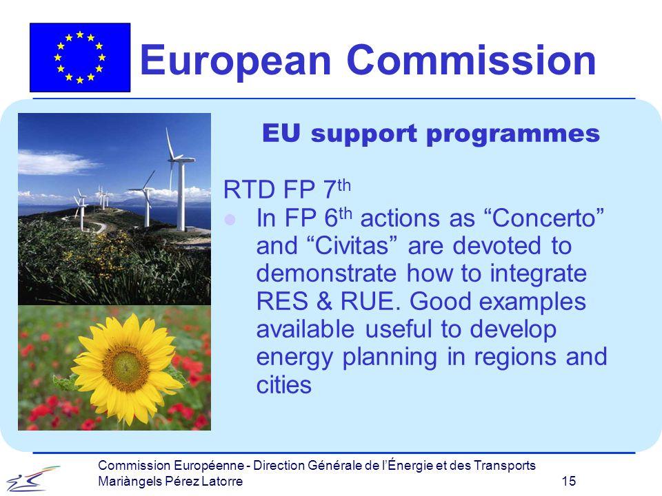 Commission Européenne - Direction Générale de lÉnergie et des Transports Mariàngels Pérez Latorre 15 European Commission EU support programmes RTD FP 7 th l In FP 6 th actions as Concerto and Civitas are devoted to demonstrate how to integrate RES & RUE.