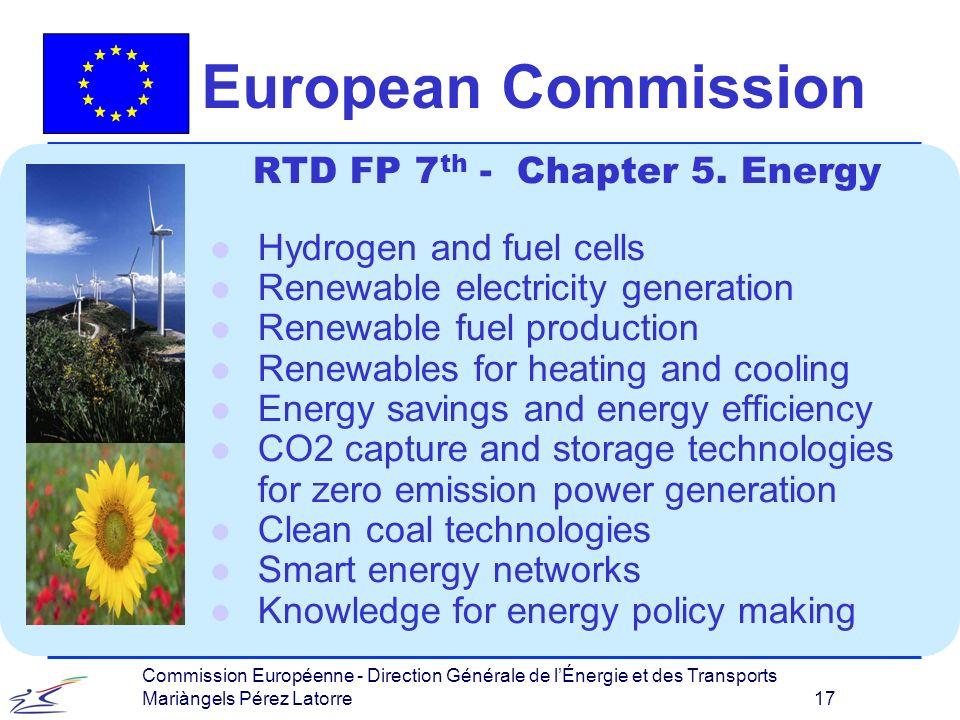 Commission Européenne - Direction Générale de lÉnergie et des Transports Mariàngels Pérez Latorre 17 European Commission RTD FP 7 th - Chapter 5.