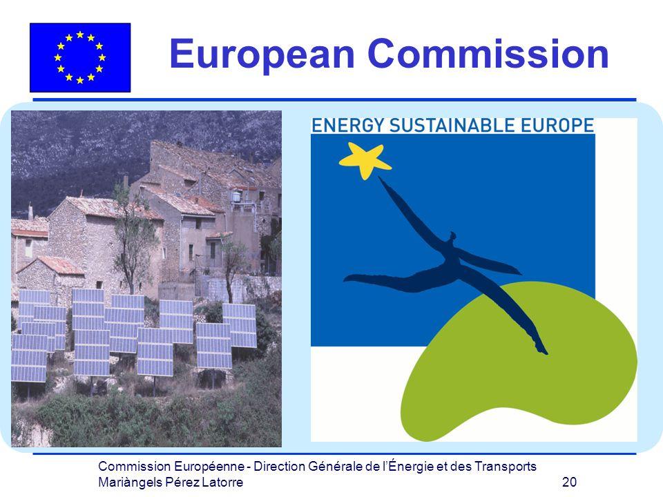 Commission Européenne - Direction Générale de lÉnergie et des Transports Mariàngels Pérez Latorre 20 European Commission