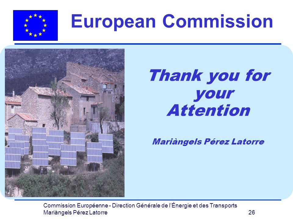 Commission Européenne - Direction Générale de lÉnergie et des Transports Mariàngels Pérez Latorre 26 Thank you for your Attention Mariàngels Pérez Latorre European Commission