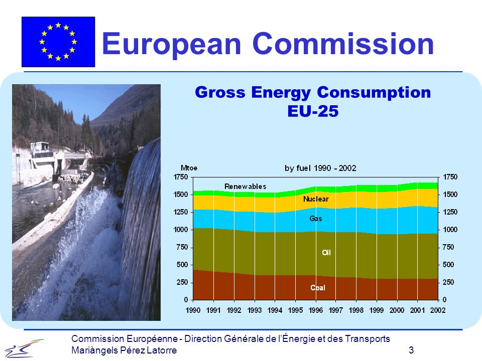 Commission Européenne - Direction Générale de lÉnergie et des Transports Mariàngels Pérez Latorre 3 European Commission Gross Energy Consumption EU-25