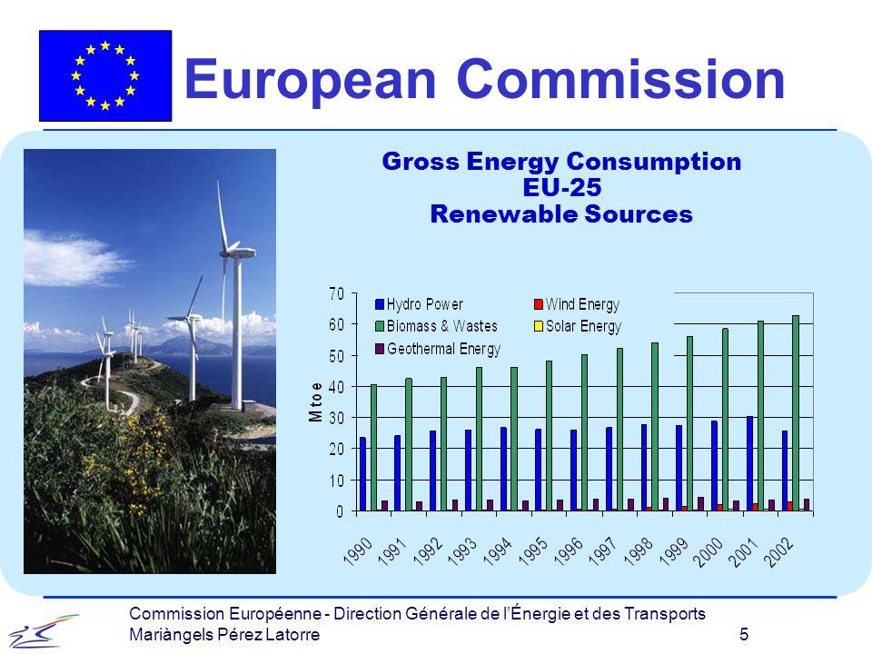 Commission Européenne - Direction Générale de lÉnergie et des Transports Mariàngels Pérez Latorre 5 European Commission Gross Energy Consumption EU-25 Renewable Sources