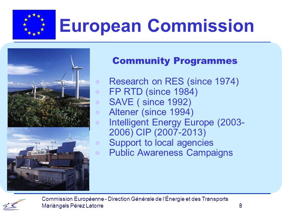 Commission Européenne - Direction Générale de lÉnergie et des Transports Mariàngels Pérez Latorre 8 European Commission Community Programmes l Research on RES (since 1974) l FP RTD (since 1984) l SAVE ( since 1992) l Altener (since 1994) l Intelligent Energy Europe (2003- 2006) CIP (2007-2013) l Support to local agencies l Public Awareness Campaigns