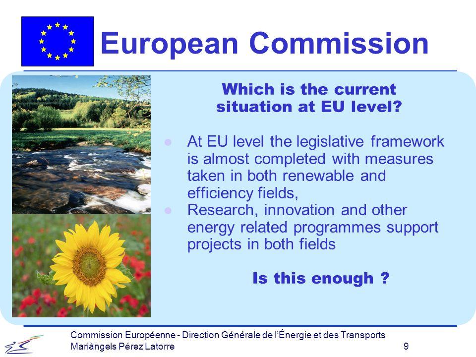 Commission Européenne - Direction Générale de lÉnergie et des Transports Mariàngels Pérez Latorre 9 European Commission Which is the current situation at EU level.