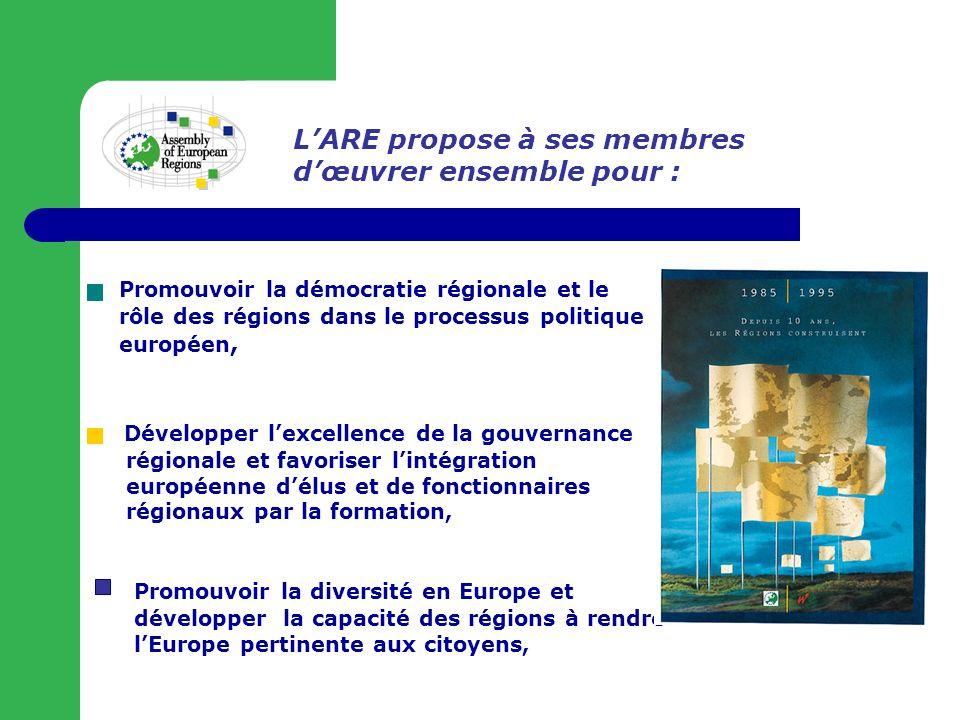 Amplifier le rôle politique des régions en Europe, Promouvoir la démocratie régionale et le rôle des régions dans le processus politique européen, Développer lexcellence de la gouvernance régionale et favoriser lintégration européenne délus et de fonctionnaires régionaux par la formation, Promouvoir la diversité en Europe et développer la capacité des régions à rendre lEurope pertinente aux citoyens, LARE propose à ses membres dœuvrer ensemble pour :