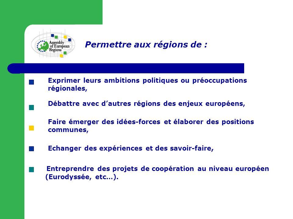Exprimer leurs ambitions politiques ou préoccupations régionales, Débattre avec dautres régions des enjeux européens, Faire émerger des idées-forces et élaborer des positions communes, Entreprendre des projets de coopération au niveau européen (Eurodyssée, etc…).