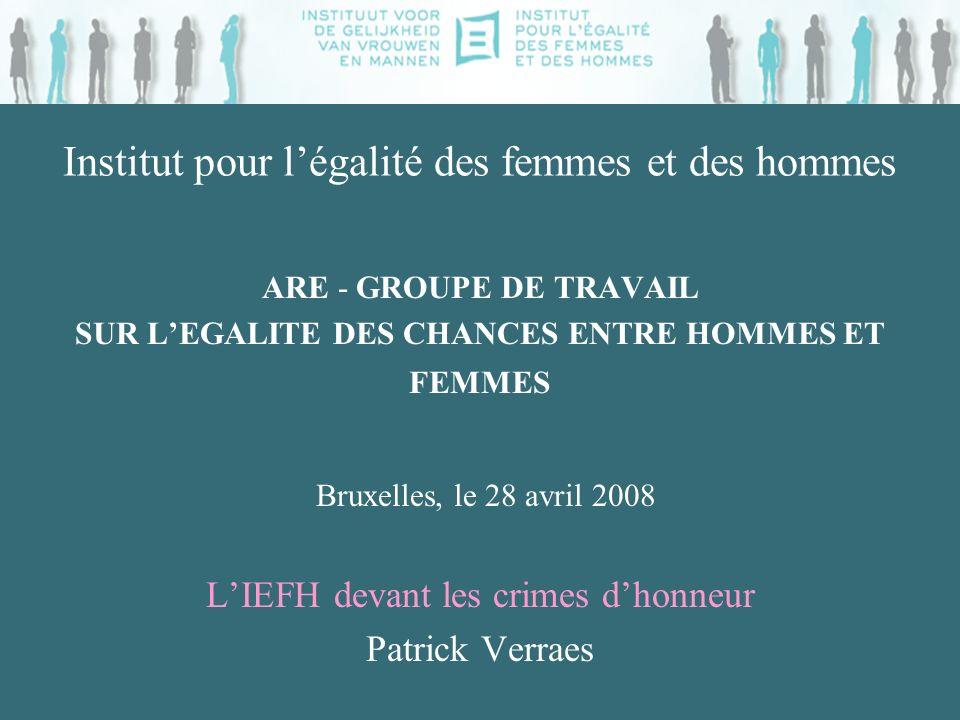 Institut pour légalité des femmes et des hommes ARE - GROUPE DE TRAVAIL SUR LEGALITE DES CHANCES ENTRE HOMMES ET FEMMES Bruxelles, le 28 avril 2008 LI