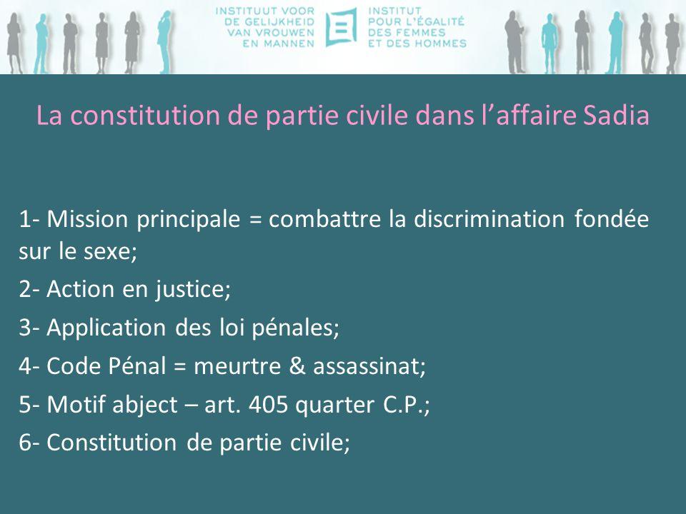 La constitution de partie civile dans laffaire Sadia 1- Mission principale = combattre la discrimination fondée sur le sexe; 2- Action en justice; 3-