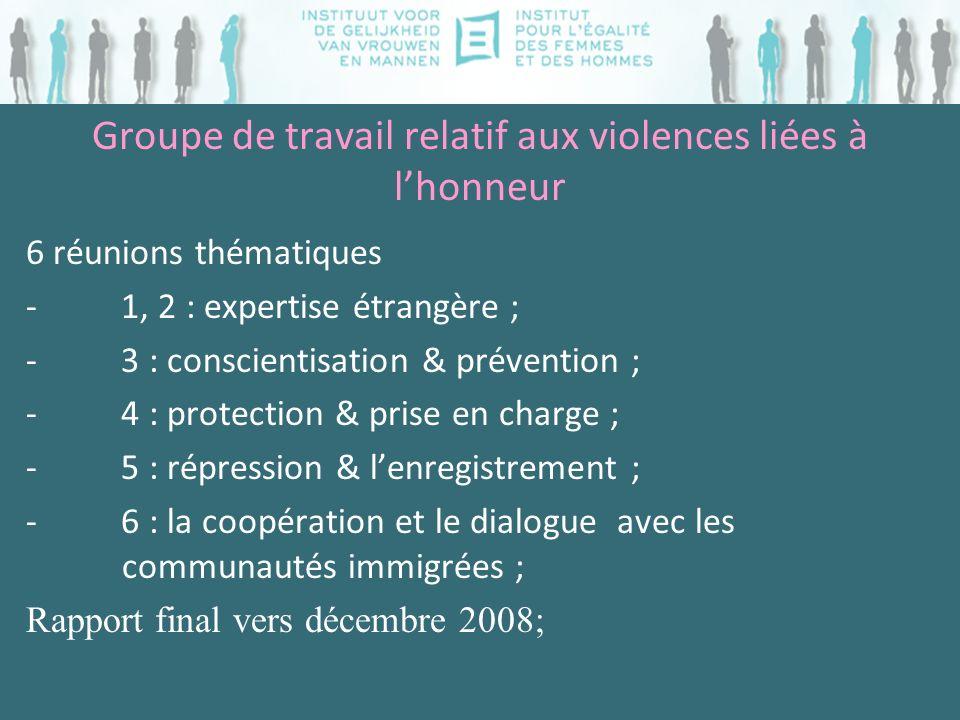 Groupe de travail relatif aux violences liées à lhonneur 6 réunions thématiques - 1, 2 : expertise étrangère ; - 3 : conscientisation & prévention ; -