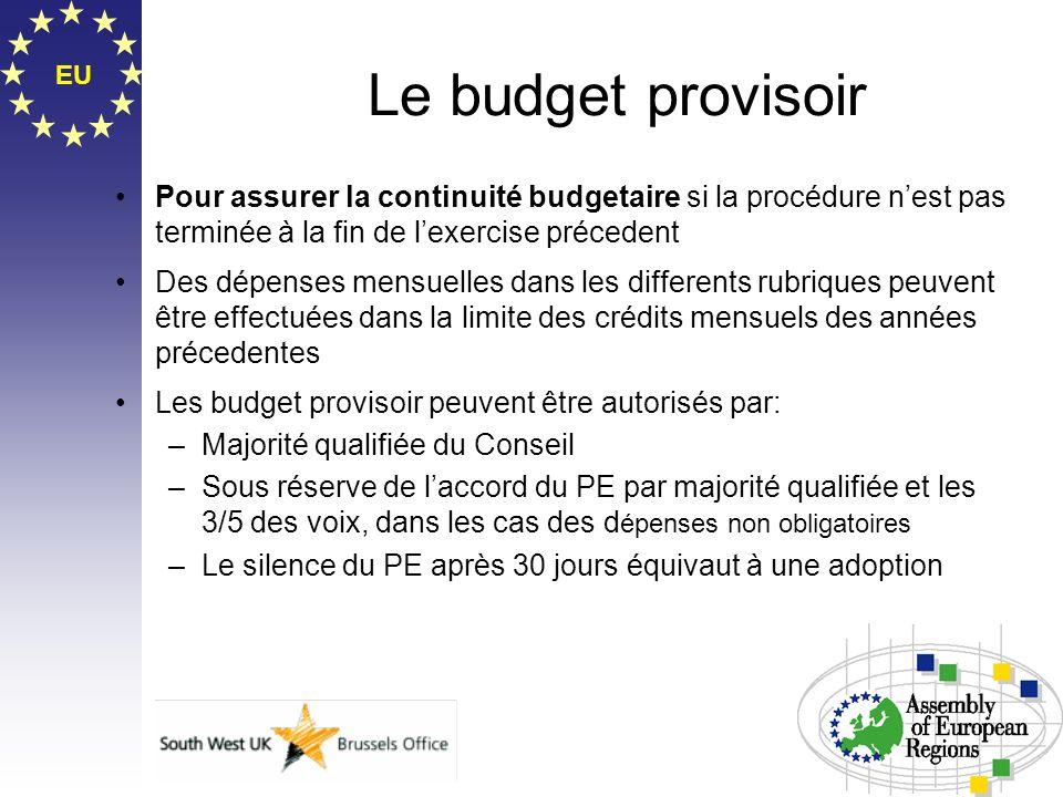 EU Le budget provisoir Pour assurer la continuité budgetaire si la procédure nest pas terminée à la fin de lexercise précedent Des dépenses mensuelles