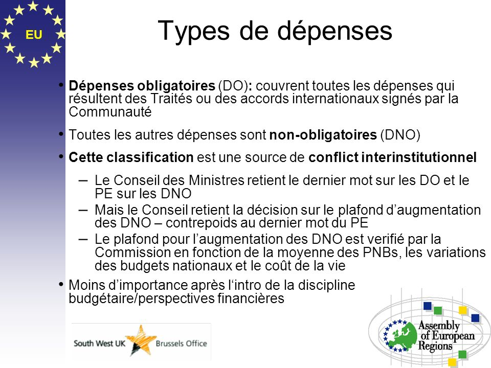 EU Types de dépenses Dépenses obligatoires (DO): couvrent toutes les dépenses qui résultent des Traités ou des accords internationaux signés par la Co