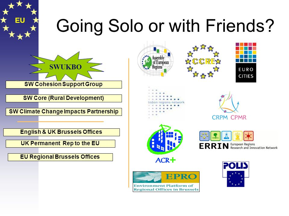 EU Going Solo or with Friends? EU Regional Brussels Offices English & UK Brussels Offices UK Permanent Rep to the EU SWUKBO SW Cohesion Support Group