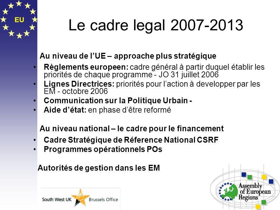 EU Le cadre legal 2007-2013 Au niveau de lUE – approache plus stratégique Règlements europeen: cadre général à partir duquel établir les priorités de