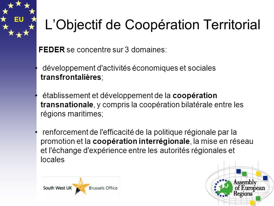 EU LObjectif de Coopération Territorial FEDER se concentre sur 3 domaines: développement d'activités économiques et sociales transfrontalières; établi