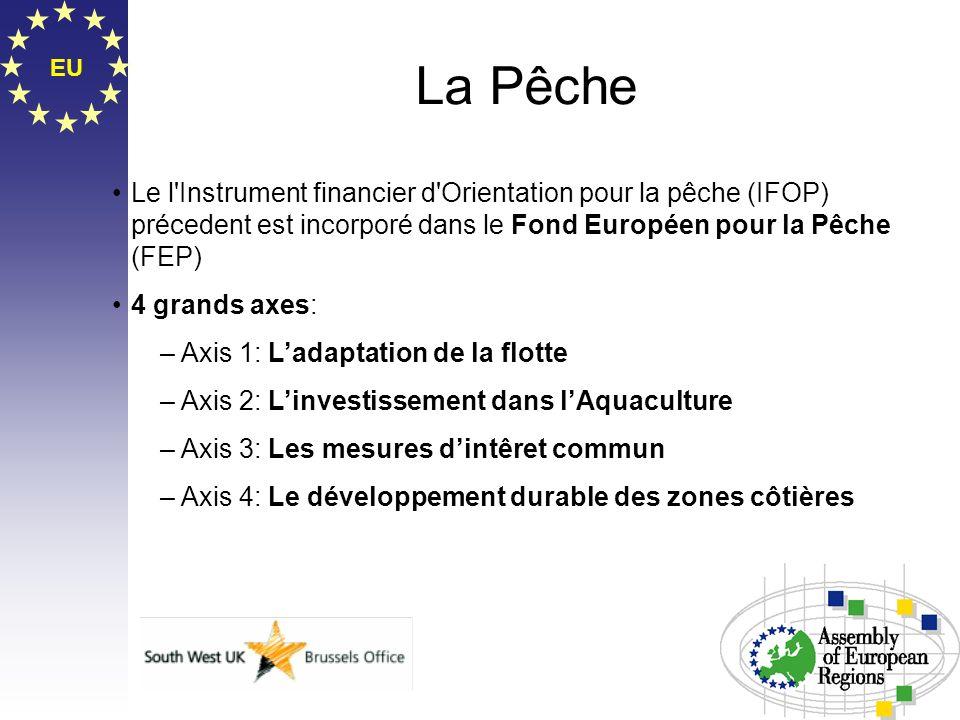 EU La Pêche Le l'Instrument financier d'Orientation pour la pêche (IFOP) précedent est incorporé dans le Fond Européen pour la Pêche (FEP) 4 grands ax