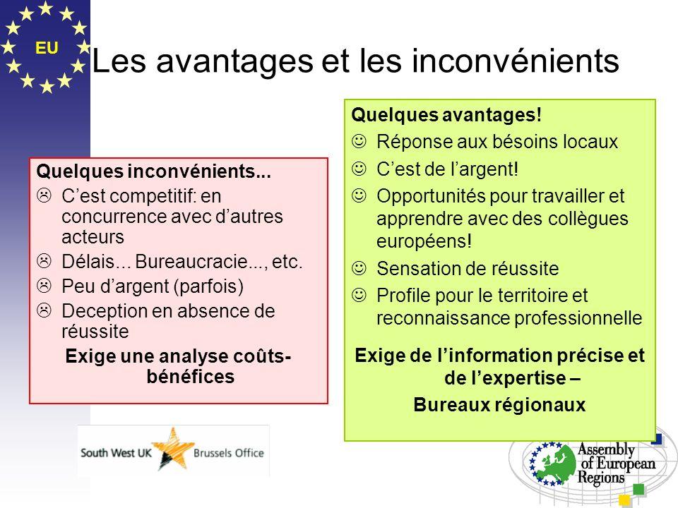 EU Les avantages et les inconvénients Quelques inconvénients... Cest competitif: en concurrence avec dautres acteurs Délais... Bureaucracie..., etc. P
