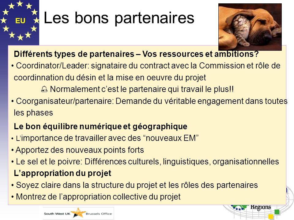 EU Les bons partenaires Différents types de partenaires – Vos ressources et ambitions? Coordinator/Leader: signataire du contract avec la Commission e