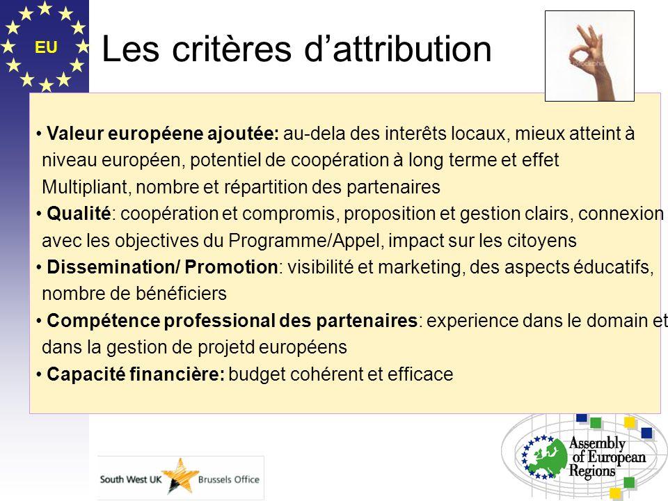 EU Les critères dattribution Valeur européene ajoutée: au-dela des interêts locaux, mieux atteint à niveau européen, potentiel de coopération à long t