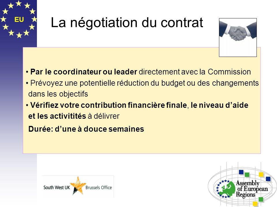 EU La négotiation du contrat Par le coordinateur ou leader directement avec la Commission Prévoyez une potentielle réduction du budget ou des changeme