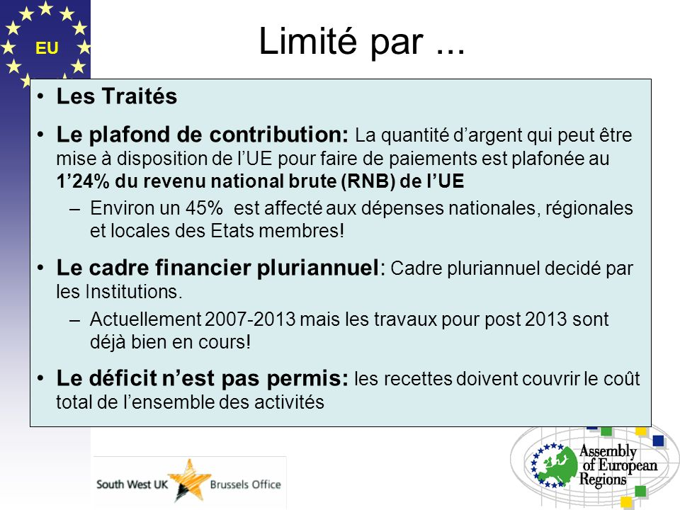 EU Limité par... Les Traités Le plafond de contribution: La quantité dargent qui peut être mise à disposition de lUE pour faire de paiements est plafo