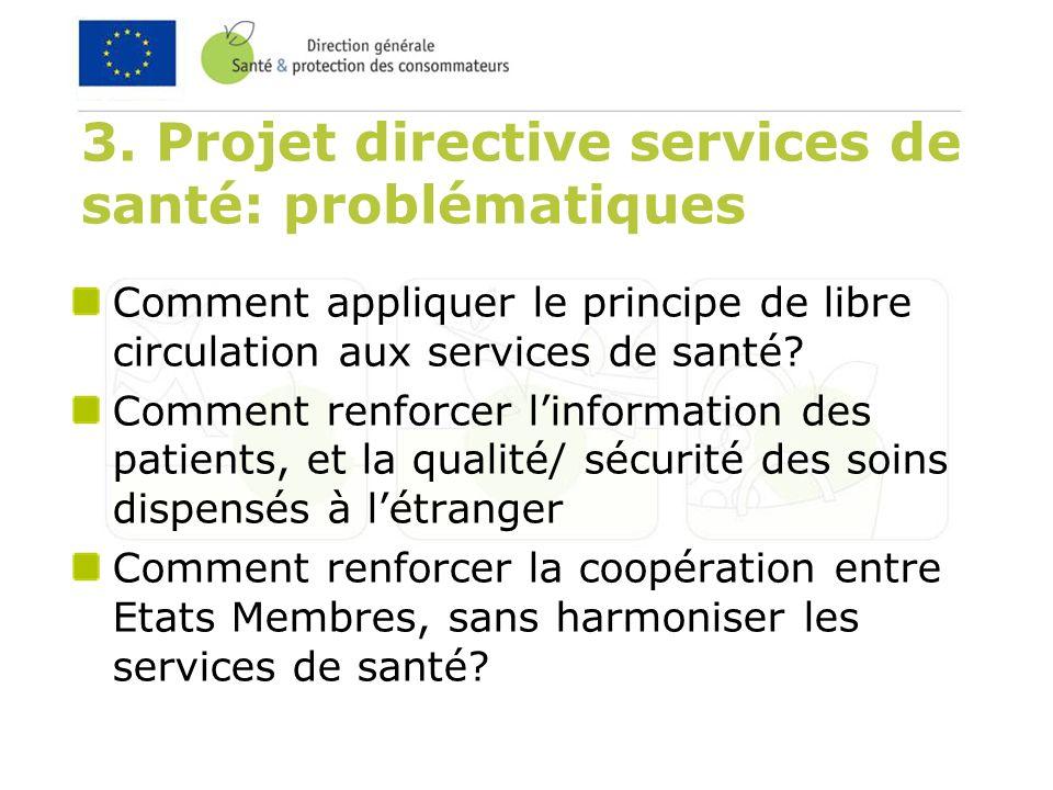 3. Projet directive services de santé: problématiques Comment appliquer le principe de libre circulation aux services de santé? Comment renforcer linf