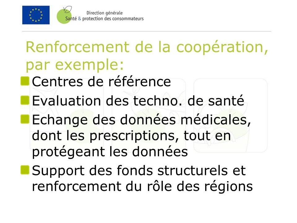 Renforcement de la coopération, par exemple: Centres de référence Evaluation des techno.