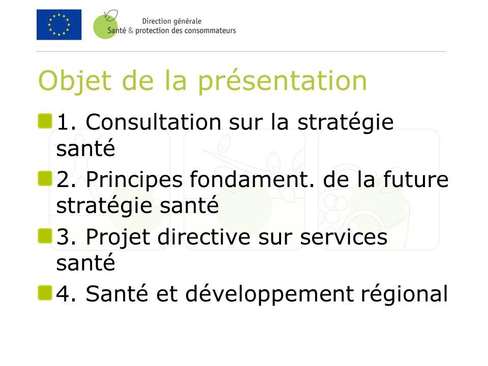 Objet de la présentation 1. Consultation sur la stratégie santé 2.