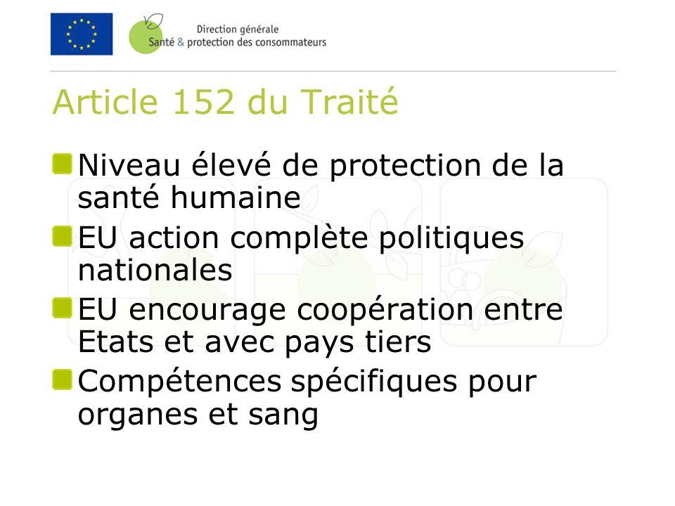 Article 152 du Traité Niveau élevé de protection de la santé humaine EU action complète politiques nationales EU encourage coopération entre Etats et avec pays tiers Compétences spécifiques pour organes et sang